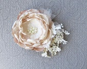 Bridal hair flower . Fabric flower hair clip . Teardrop lace, chantilly lace, corded lace . Glass or fresh water pearls