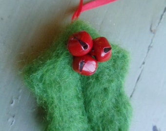 Green Wool Holly Leaf Christmas Ornament Needle Felted Decoration