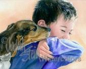 "Boy Toddler, Blue Shirt, Black Hair & Beagle Puppy Dog Children Watercolor Painting Print, Wall Art, Home Decor, Nursery, ""Puppy Dog Tails"""