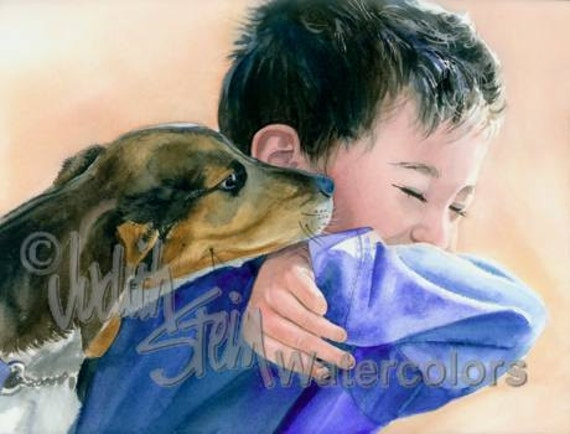 "Boy Toddler, Blue Shirt, Black Hair & Beagle Puppy Dog Children Watercolor Painting Print, Wall Art, Home Decor, Nursery, ""Puppy Dog Tails"""