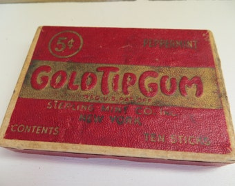 Vintage Paper Box Gold Tip Gum Peppermint Great Condition and still hinged top and bottom