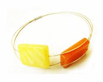 Vintage Wire Agate Stone Bangle Bracelet
