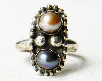 Vintage Sterling Silver Two Tone Pearl Ring