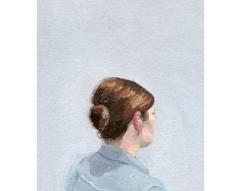 "5x7"" hair art - bun print - ""Bun 2"""