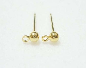 F-221. 10 pcs (5 pairs)  Gold Plated, Ball Ear Post Finding