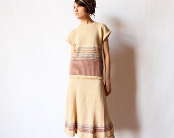 70s Sweater Dress, 2 Piece 1930s Style Knit Outfit Tan Striped Autumn earth tone flared midi skirt cap sleeve top separates, boho office