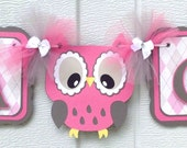 Owl baby shower banner, its a girl banner, argyle print, pink and grey