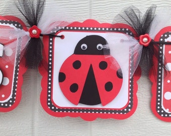 ladybug baby shower banner, lady bug banner, red and black, nursery decorations, its a girl banner, girl baby shower, baby shower banner,
