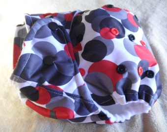 SassyCloth one size pocket diaper with red and gray circles PUL print. Made to order.
