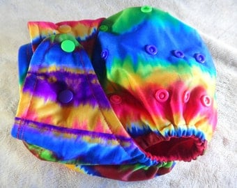 SassyCloth one size pocket diaper with rainbow tie dye  PUL print. Made to order.