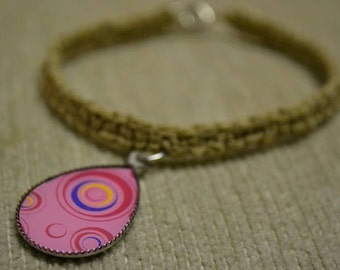 Tear Drop Charm Pink Yellow Blue Simple Hemp Bracelet