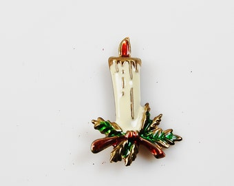 Vintage Holiday Candle Brooch