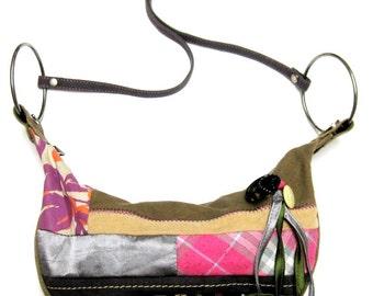 Green Pink Patchwork Purse Corduroy Handbag Shoulderbag