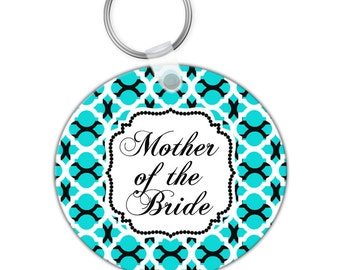 Custom Personalized KEYCHAIN Double Lattice Mother of the Bride Bridal Party - CIRCLE or SQUARE - Monogram name initials