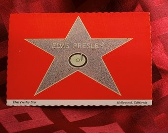 Elvis Presley Postcard 1970's Hollywood Walk Of Fame Star Continental Card B7941 Rock 'n Roll Rockabilly Pop Music