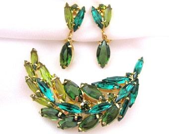 Vintage Green Rhinestone Leaf Brooch and Earrings, Dangle Earrings, Shades of Green Jewelry