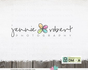 Premade Logo - hand drawn flower premade logo design for photographer Photography small business floral logo - sewing logo - shop logo