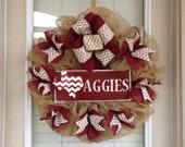 Texas Aggies Burlap Wreath