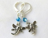SALE Swarovski Crystal and Sterling Dragonfly Earrings