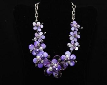 Bold Statement Purple Flowers Necklace