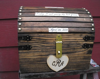 Wedding Card box with lock Rustic Country Chic