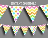 Printable Banner - Pastel Chevron and Polka Dot Bunting-  INSTANT DOWNLOAD
