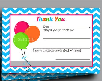 50% OFF SALE - Balloon Birthday Thank You Note Printable - Chevron - Instant Download
