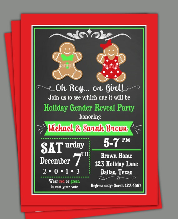 Christmas Gender Reveal Invitation Printable or Printed with