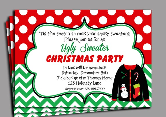 Items similar to Christmas Ugly Sweater Party Invitation ...