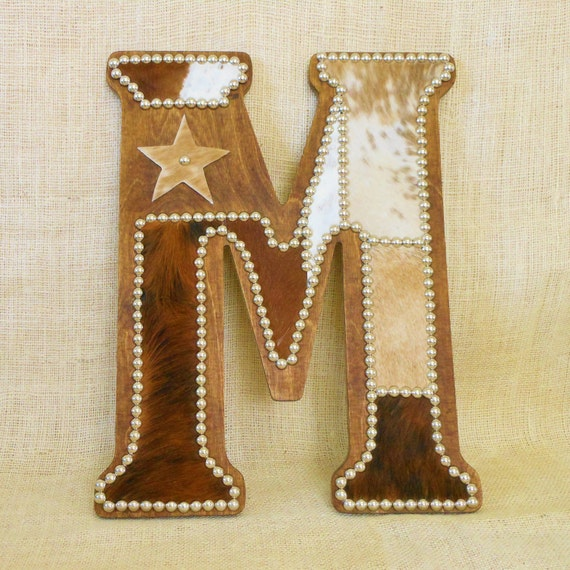 Cowhide wall letter m western home decor wall by lizzyandme for Letter m home decor