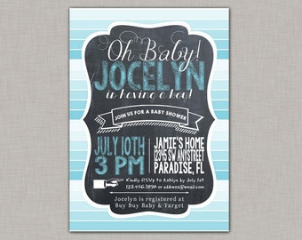 Boy Baby Shower Invitation, Baby Shower Invitation, Chalkboard, Ombre, Stripes