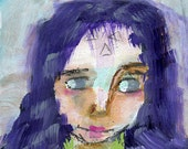 "Wisteria - 3x4"" Original Mixed Media portrait"