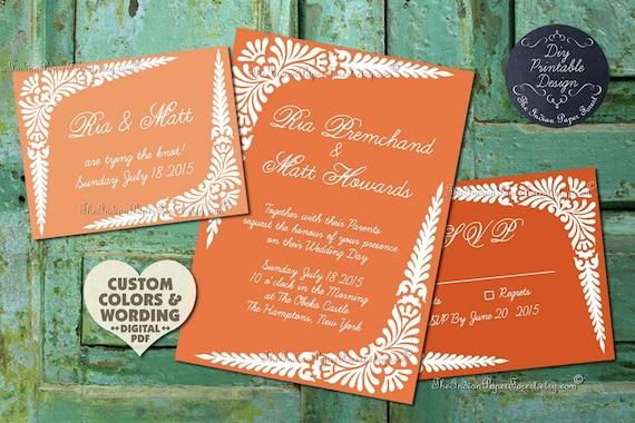 Boho Chic DIY Indian Wedding Save The Date Card BLOCK BEAUTY Design Printable Pdf Invitation Rustic Set Asian Thai Destination Pakistani New