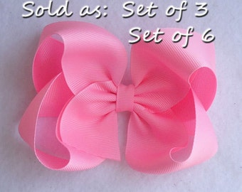"SET of 3, or 6  Boutique Hairbow, 5"" Boutique Hair Bow, Solid Color Hairbows, Boutique Hair Bows, Boutique Bows, Large Boutique Hair Bows"