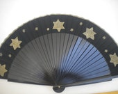 MTO Folding Hand Fan Wooden Hand Painted Black with Gold Stars
