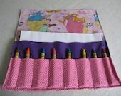Princesses party favor Crayon roll up princesses print fabric crayon holder crayon Princesses birthday