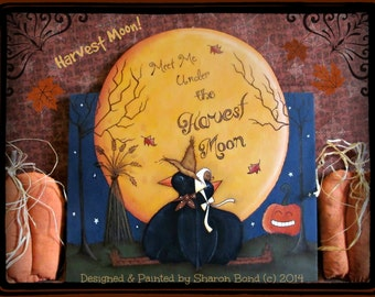 E PATTERN - Harvest Moon - Cute Crows Meet Under the Moon! Fun for Fall. Painted and Designed by Sharon Bond - FAAP