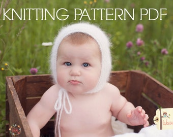KNITTING pattern baby bonnet angora patttern PDF instant download newborn6 12 months you may sell all finished items