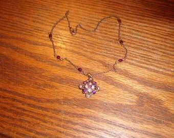 vintage necklace choker purple rhinestones