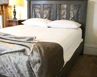 Gray Toned Queen Bed Made Reclaimed New Orleans Houses and Ceiling Tin