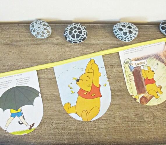 Winnie The Pooh Bunting Golden Book Honey Tree Children Garland Nursery Decor Yellow Poem AA Milne Disney