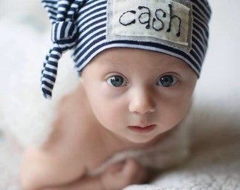 NAVY & WHITE STRIPE: Baby Name hat, personalized hat, newborn name hat, photography prop, baby hat, knots, birth announcement, hospital hat