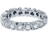 Diamond Heart .65CT Eternity Ring 14K White Gold Anniversary Wedding Band Size 4-9