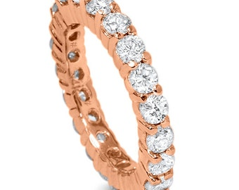 2.00Ct Diamond Rose Gold Eternity Ring 14K Womens Anniversary Stackable Band Size 4-9
