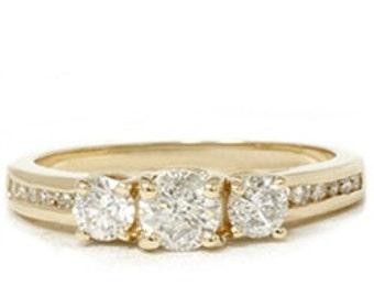VS 1.00CT 3-Stone Diamond Engagement Ring 14K Yellow Gold Anniversary Band Channel Set Size 4-9