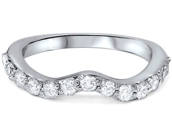 Notched Diamond Wedding Ring .55CT Curved Anniversary Guard Band 14K White Gold Size 4-9