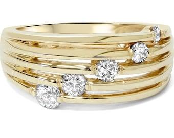 14k Yellow Gold .50CT Fancy Womens Right Hand Diamond Ring