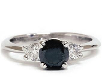 Black  Diamond 1.42CT Engagement Accent Anniversary Ring