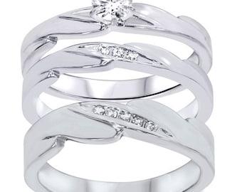 Diamond .35CT Engagement Wedding Ring Trio Set 10K White Gold