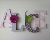 """Nursery wooden wall letters in soft lilac, pink and gray spelling out your child's name 8 """" wall letters initial monogram"""